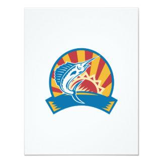 Sailfish Jumping Sunburst Woodcut Retro 4.25x5.5 Paper Invitation Card