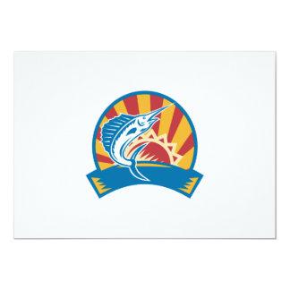 Sailfish Jumping Sunburst Woodcut Retro 5x7 Paper Invitation Card