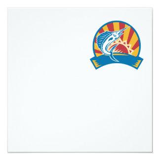 Sailfish Jumping Sunburst Woodcut Retro 5.25x5.25 Square Paper Invitation Card