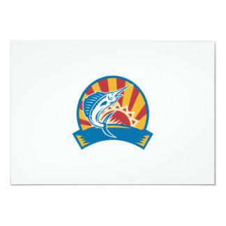 Sailfish Jumping Sunburst Woodcut Retro 3.5x5 Paper Invitation Card