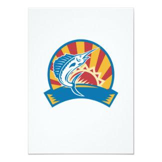Sailfish Jumping Sunburst Woodcut Retro 4.5x6.25 Paper Invitation Card