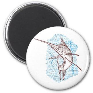 sailfish jumping  woodcut style fridge magnet