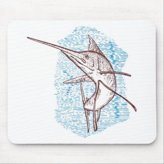 sailfish jumping  woodcut style mouse pad