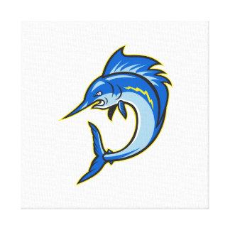 Sailfish Swordfish Jumping Cartoon Gallery Wrapped Canvas