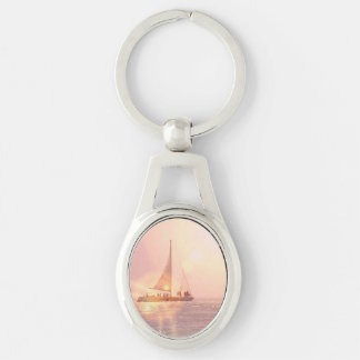 sailing-5 Silver-Colored oval metal keychain