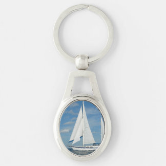 sailing-84 Silver-Colored oval metal keychain