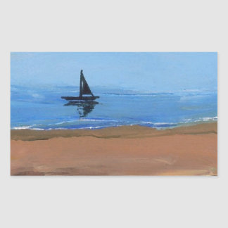 Sailing a Gentle Breeze - Ships of the Imagination Rectangle Stickers