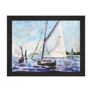Sailing Along Fine Art Sailboats Watercolor Canvas Print