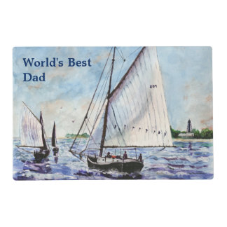 Sailing Along Fine Art Sailboats Watercolor Placemat