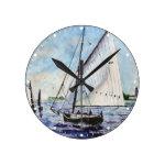 Sailing Along Fine Art Sailboats Watercolor Round Wallclock