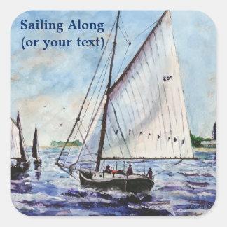 Sailing Along Fine Art Sailboats Watercolor Square Sticker