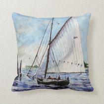 Sailing Along Fine Art Sailboats Watercolor Throw Pillow