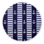 Sailing anchor and stripes pattern ceramic knob
