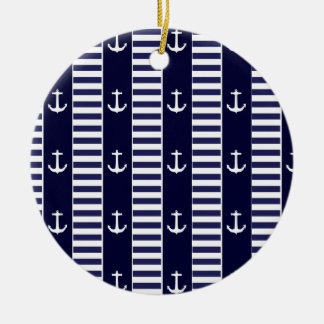 Sailing anchor and stripes pattern ceramic ornament