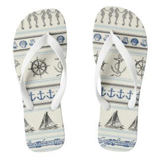 Sailing Anchor Nautical Rope Kno Flip Flop Sandals Flip Flops