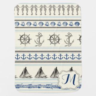 Sailing Anchor Nautical Rope Knot Baby Blanket