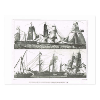 Sailing and steam ships postcard