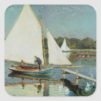 Sailing at Argenteuil, c.1874 Square Stickers
