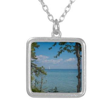 Sailing At Mackinac Silver Plated Necklace