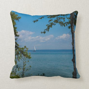 Sailing At Mackinac Throw Pillow