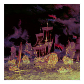 Sailing at night on the ocean into a purple sky poster