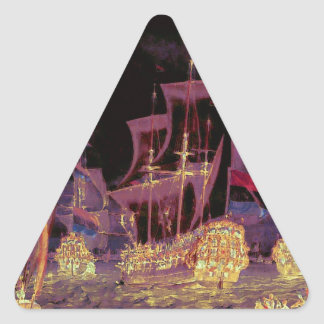 Sailing at Night on the Ocean Triangle Sticker