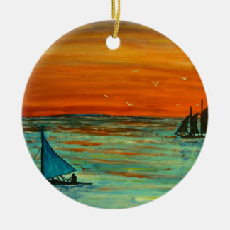 Sailing at sunset ceramic ornament