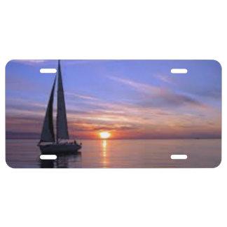 Sailing at Sunset License Plate