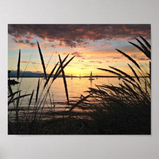 Sailing at Sunset Poster
