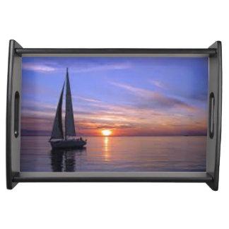 Sailing at Sunset Serving Tray