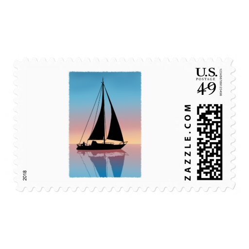Sailing at Sunset Silhouette Postage Stamp