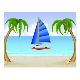 Sailing At The Beach Postcard