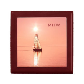 Sailing Away custom monogram gift / jewelry box