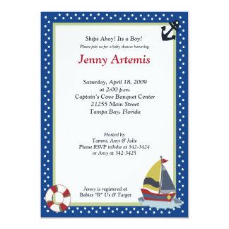 Sailing Away Navy Blue 5x7 Baby Shower Invitation