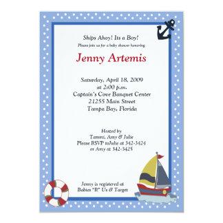 Sailing Away Ocean Blue 5x7 Baby Shower Invitation