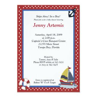 Sailing Away Sailboat Nautical 5x7 Baby Shower Card