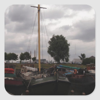 Sailing Barge On A Grey Day Square Sticker