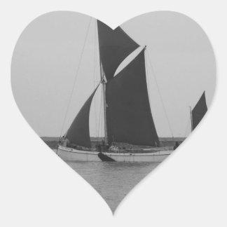 Sailing Barge Reminder Heart Sticker