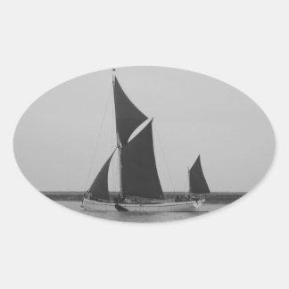 Sailing Barge Reminder Oval Sticker