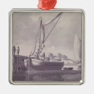 Sailing Barges Approaching a Wharf Square Metal Christmas Ornament