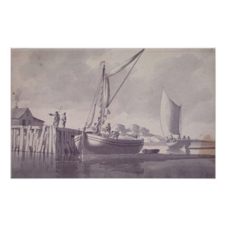 Sailing Barges Approaching a Wharf Poster