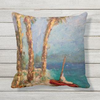 Sailing Beach Custom Outdoor Throw Pillow