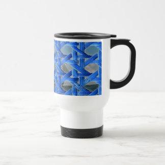 Sailing beyond blue lattice travel mug