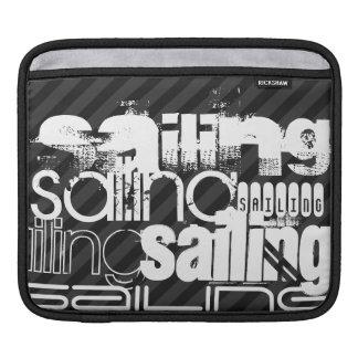 Sailing; Black & Dark Gray Stripes iPad Sleeve