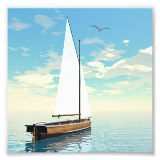 Sailing boat - 3D render Photo Print