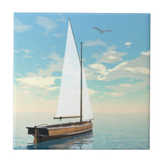 Sailing boat - 3D render Tile