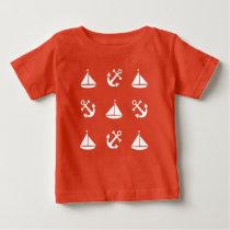Sailing boat and anchor pattern baby T-Shirt