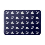 Sailing boat and anchor pattern bathroom mat