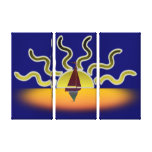 Sailing Boat and Setting Sun Canvas Print