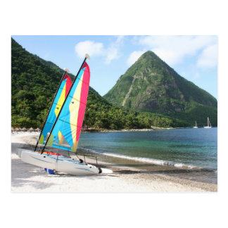 Sailing Boat and water sports equipment on a beach Postcard